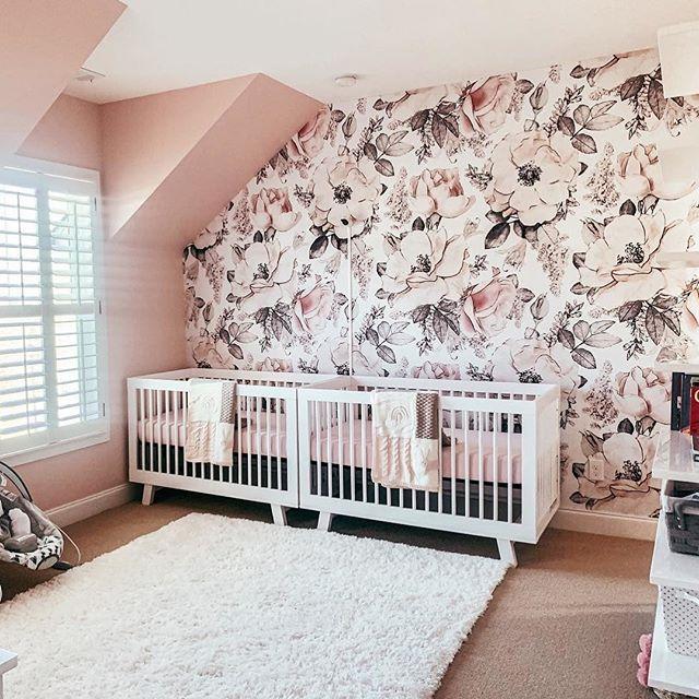 Floral Twin Baby Girl Nursery In 2020 Twin Girls Room Twin Girl
