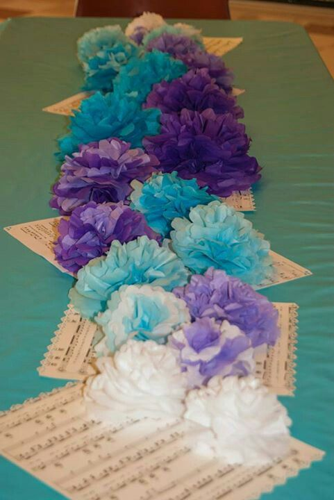 Tissue Paper Flower Table Decorations Photograph Table