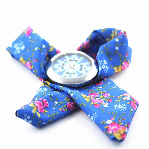 Fashion Ladies Fabric Band Flower Cloth Quartz Wrist Watch