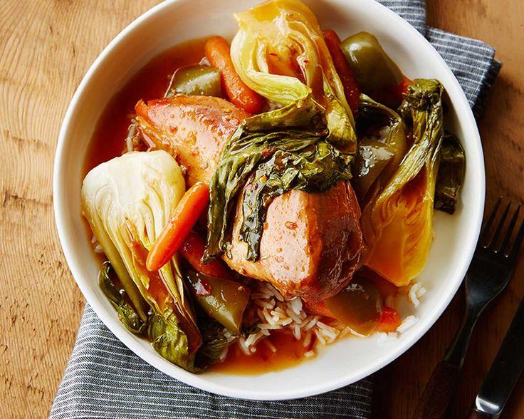 Poulet aux légumes verts façon asiatique (cuit à la mijoteuse)