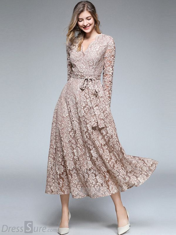 d3bedc31f206 Embroidery Lace V-Neck Long Sleeve Maxi Dress in 2019 | Wedding ...