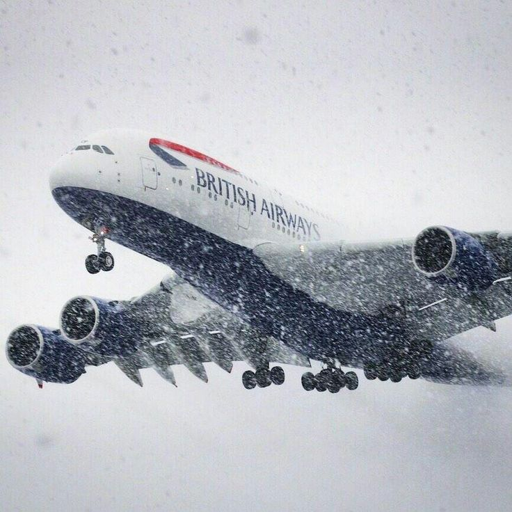 BA A380 arriving in heavy snow.