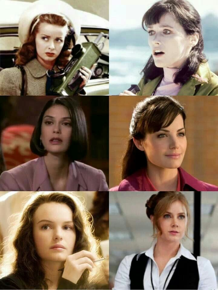 Lois Lane from top to bottom and left to right: Noel Neill, Margot Kidder, Teri Hatcher, Erica Durance, Kate Bosworth, and Amy Dams