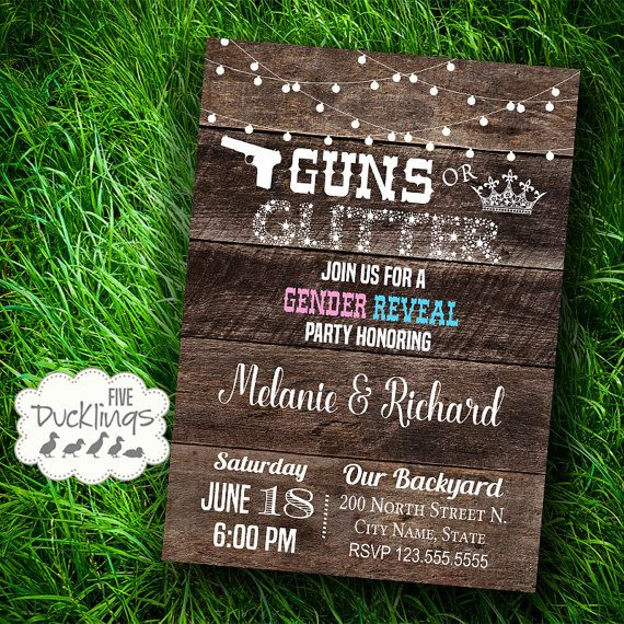 Guns or Glitter Gender Reveal Party Invitation by 5Ducklings