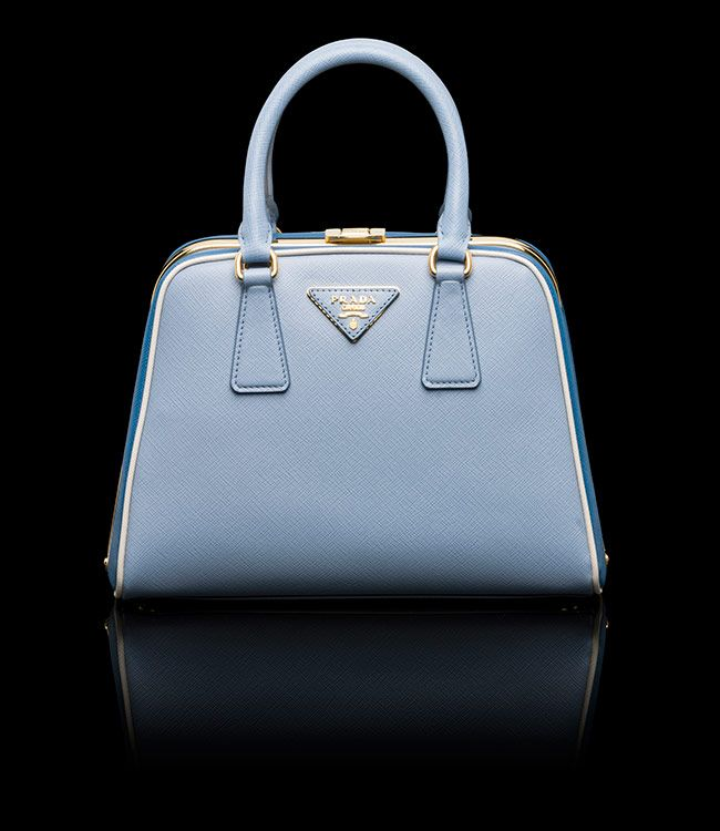 prada galleria bag black/light blue