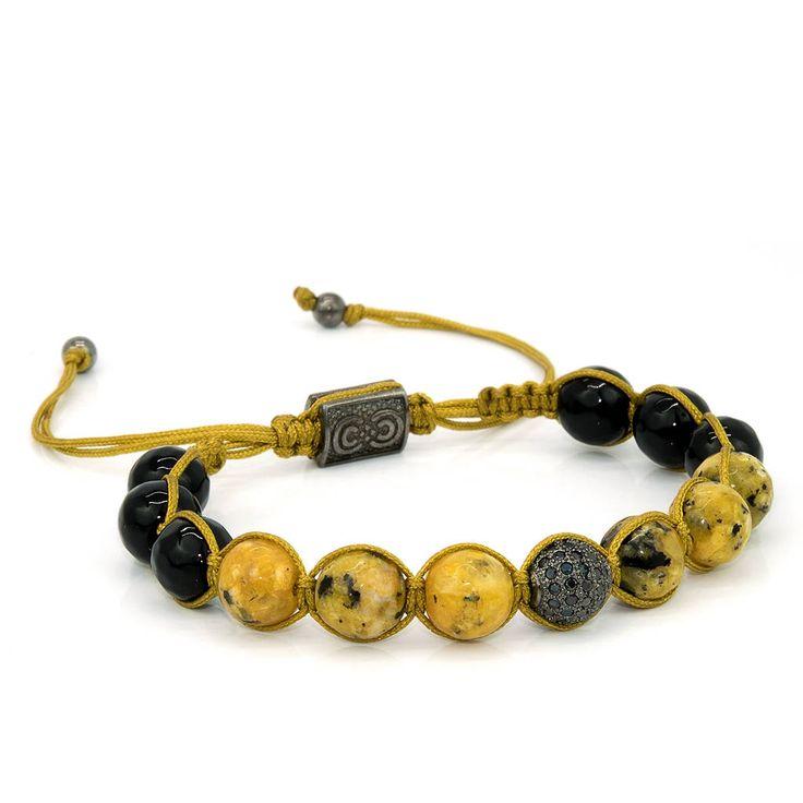 DANDELION | Unisex Shamballa Bracelet, Handcrafted, 925 Sterling Silver, Cubic Zirconia, Beaded Bracelet, Gift for Men, Anniversary Gift