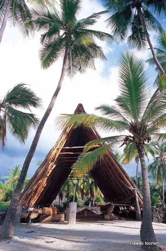 Halau in Puuhonua o Honaunau National Historical Park in Hawaii