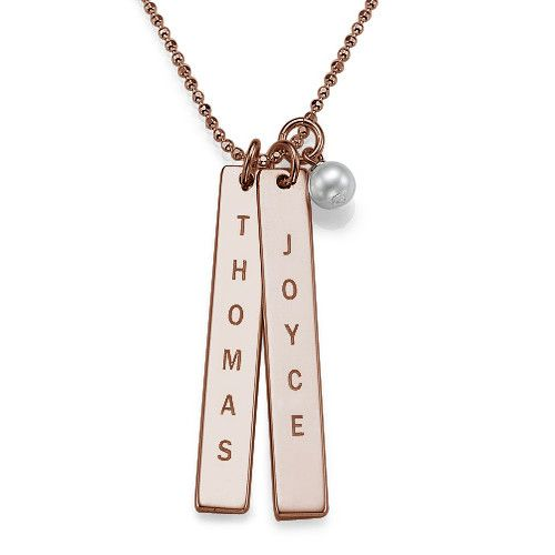Engraved Name Tag Necklace with Freshwater Pearl - Rose Gold Plated   MyNameNecklace