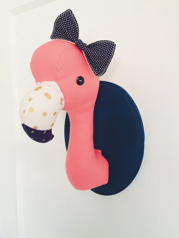 flamingo plush taxidermy nursery decor.