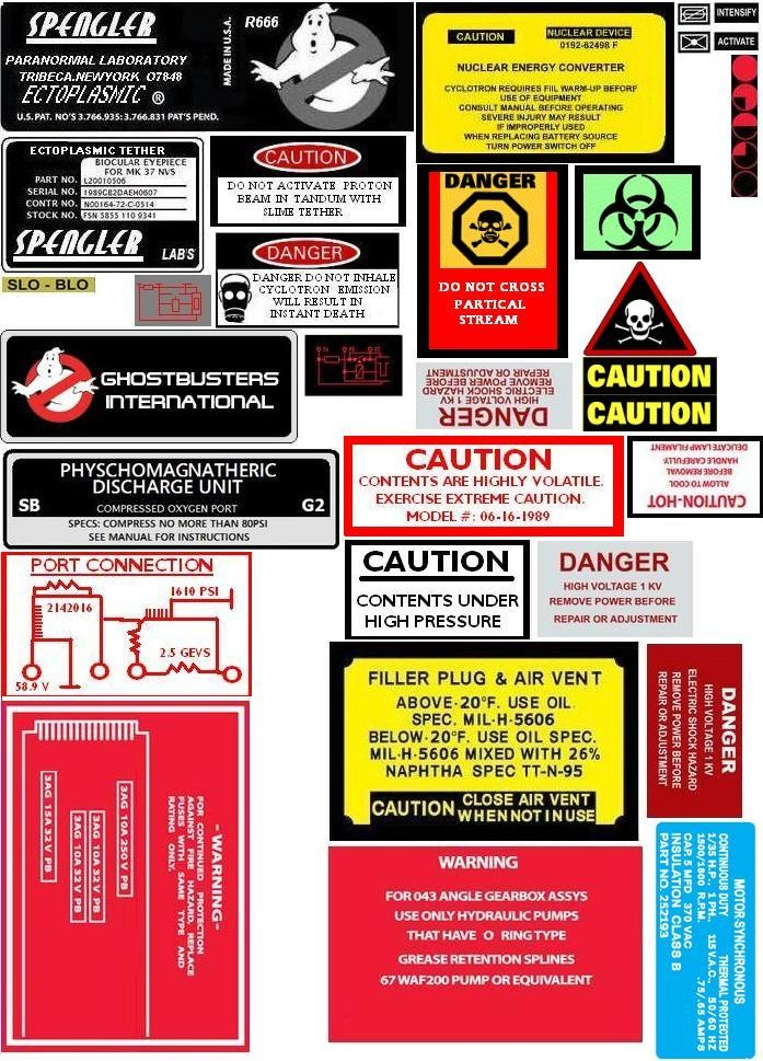 Ghostbuster labels for proton pack, EKG, ghost trap                                                                                                                                                                                 More