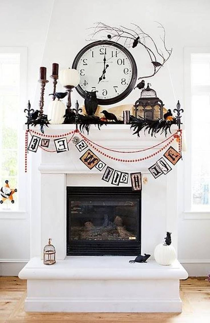 57 best images about fireplace decor on pinterest for How to decorate your fireplace for halloween