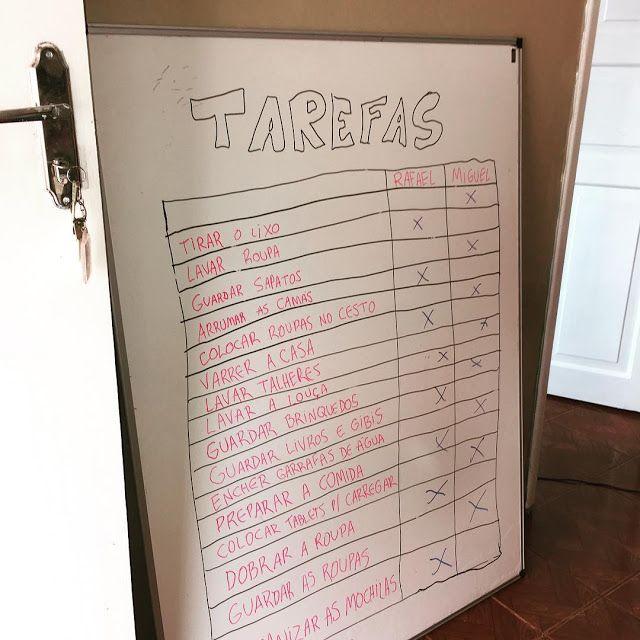 Quadro de tarefas que uso com meu filho para dividir a responsabilidade pela casa :-)