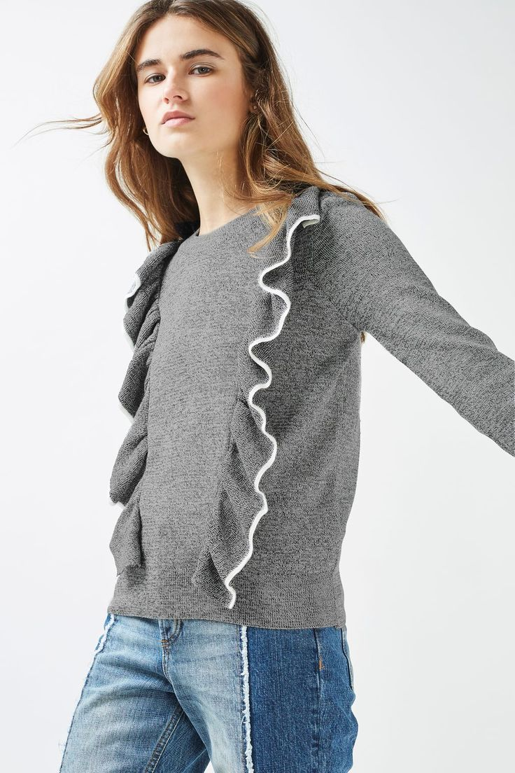 Tipped Ruffle Knitted Sweater
