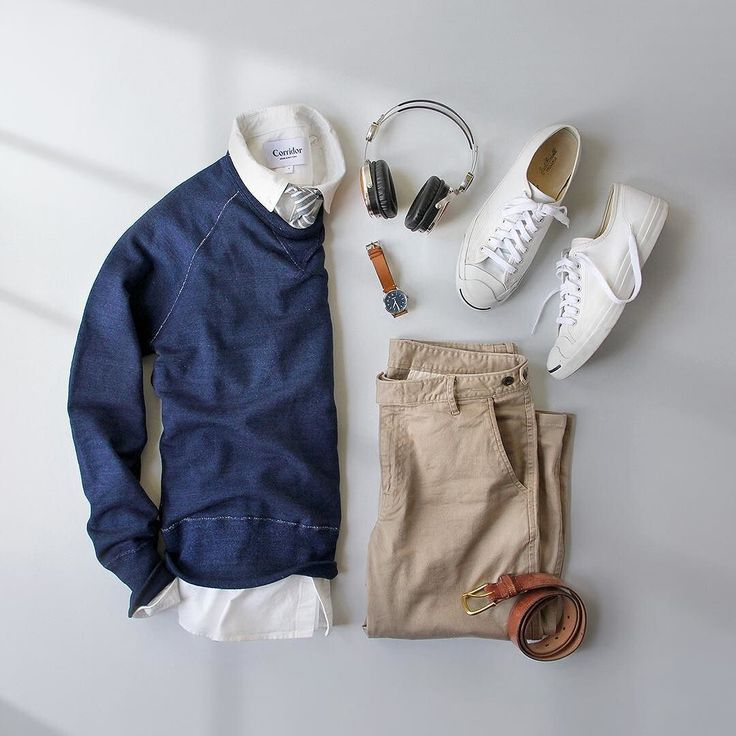 Spring chill.  Pants: @corridornyc Tan Stretch ChinosMade in USA Sweatshirt: @toddsnyderny Japanese Indigo Crew Shirt: @corridornyc Japanese Oxford Tie: @thetiebar Belt: @rancourtco Shoes: @converse Jack Purcell  Headphones: @lstnsound Watch: @tsovet by thepacman82