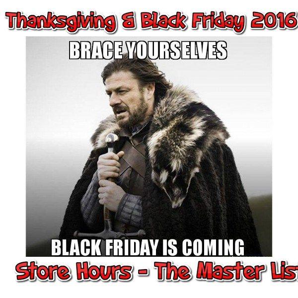 Black Friday Store Hours 2016 Master List - http://couponsdowork.com/black-friday/black-friday-store-hours-2016-master-list/