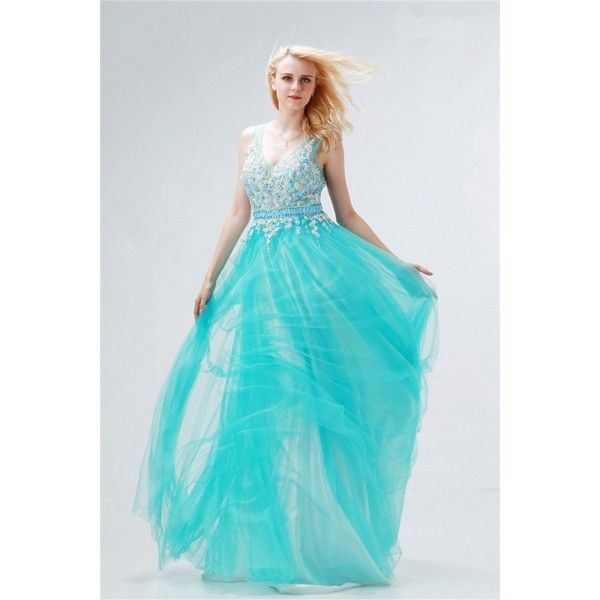 Fairy A Line V Neck Long Aqua Tulle Applique Prom Dress ($169) ❤ liked on Polyvore featuring dresses, blue long dress, long prom dresses, long v neck dress, blue dress and v-neck dresses
