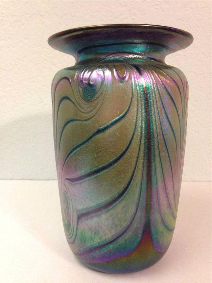 Rick Hunter Hand Blown Art Glass Cobalt Iridescent Small Vase Signed 6.5 inch