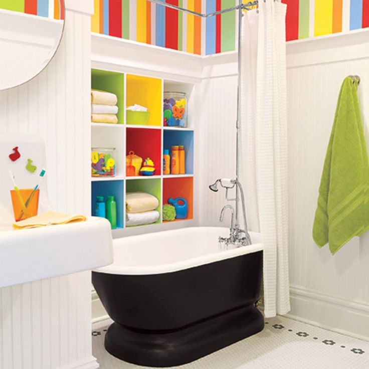 Fancy Kids Bathroom Design With Black And White Bathtub Also Colorful Shelf  And Green Polkadot And