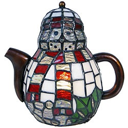 Tiffany-style lamp features colorful hand-blown art glass to brighten any home decor  Elegant tea pot lamp displays preimary colors of ivory opal, clear, red and green   Table lamp will dress up any room in your home or office
