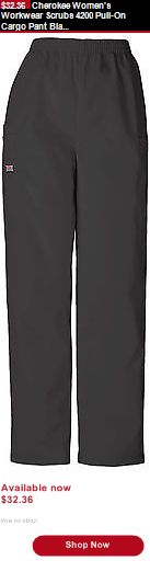 Adult uniforms: Cherokee Womens Workwear Scrubs 4200 Pull-On Cargo Pant Black BUY IT NOW ONLY: $32.36
