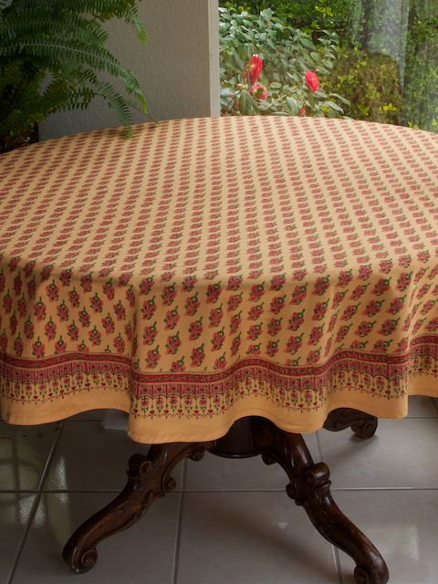 Orange Round India Print Paisley TABLECLOTHS: Use our colorful cotton tablecloths to set the mood you want to create, regardless of the occasion. So whether you are looking for colorful picnic table cloths, or something cheery for your country kitchen or even a decorative atmospheric setting for an elegant formal dinner party; this luxury cotton tablecloth is sure to add vibrant color and drama to the banquet.