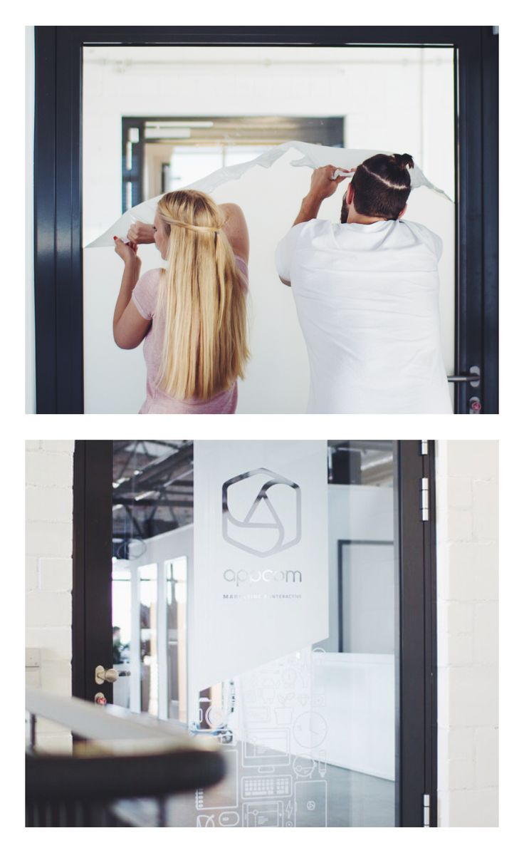 appcom marketing & interactive | glass door decals | office interior design concept | before and after pictures