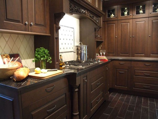 7 best kitchens cherry images on pinterest kitchens for Cherry kitchen cabinets with glass doors