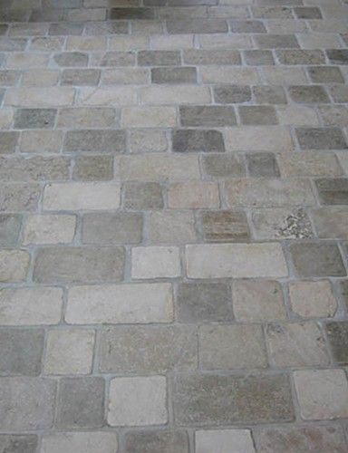 Limestone Tumbled Cobblestone Pavers	 [ Visit Store » ]  I love the texture of limestone, I think this type of pattern could be used inside or out - it would look great in a kitchen or entryway, classic European style.