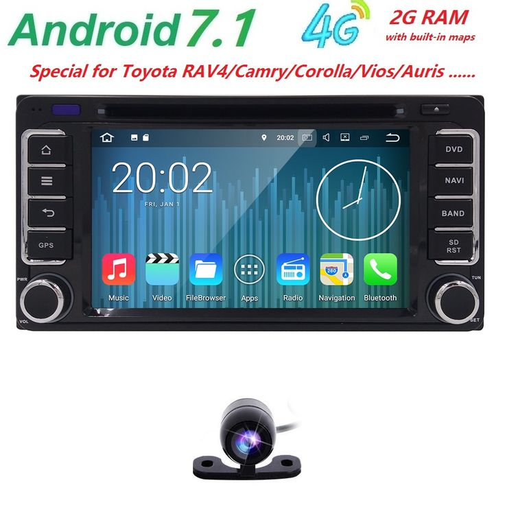 NEW!Android7.1 2DIN QuadCore Car Video GPS For Toyota Corolla Camry Capacitive screen1024*600+wifi+2G RAM+4G+SWC+BT RDS CAM MAP #Affiliate
