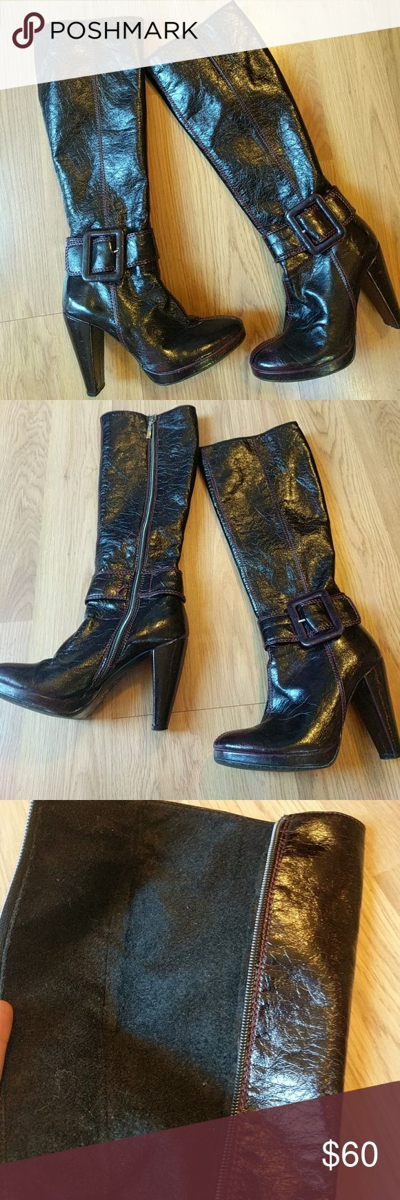 Stunning!!! Authentic Altramarea Italian boots Size 5 women's boots. Black with a beautiful dark purple trim. Fine wool in the inside of the boots. Heel is about 3.5-4in. In great condition! Even more beautiful in person! Altra Shoes Heeled Boots