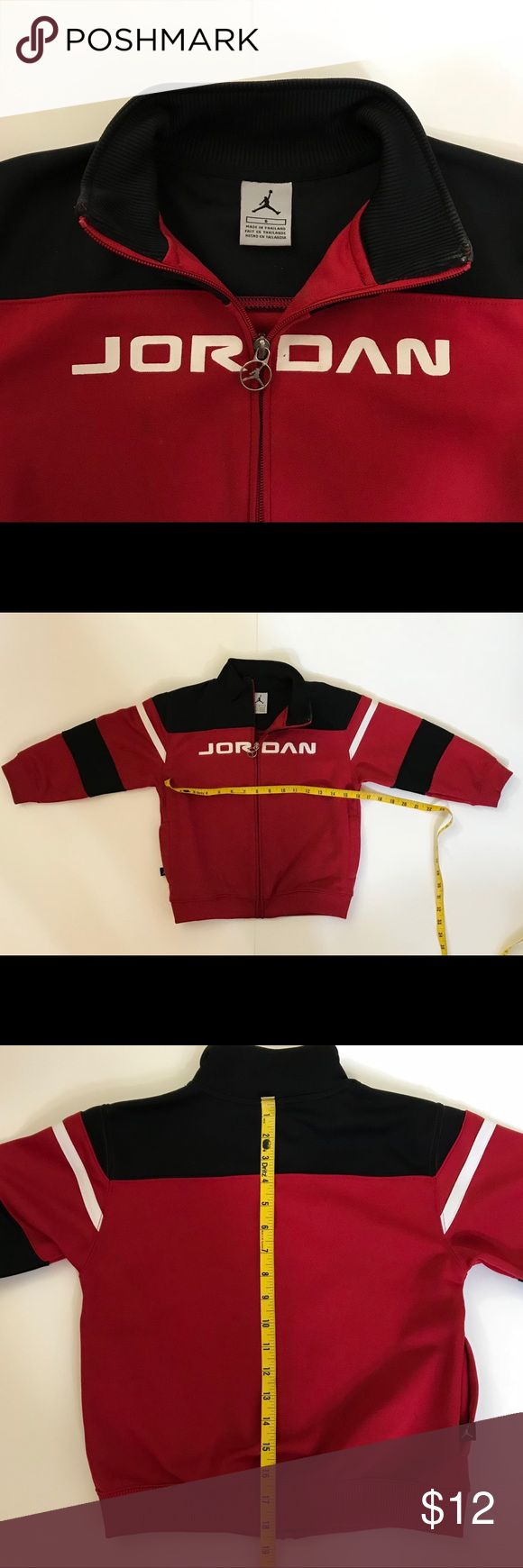 """Boys Red, Black, and White Air Jordan Jacket Sz 6 Excellent condition. Used once then stay in the closet. Dimensions: chest about 32"""" all around, length 18.5"""" Air Jordan Jackets & Coats"""