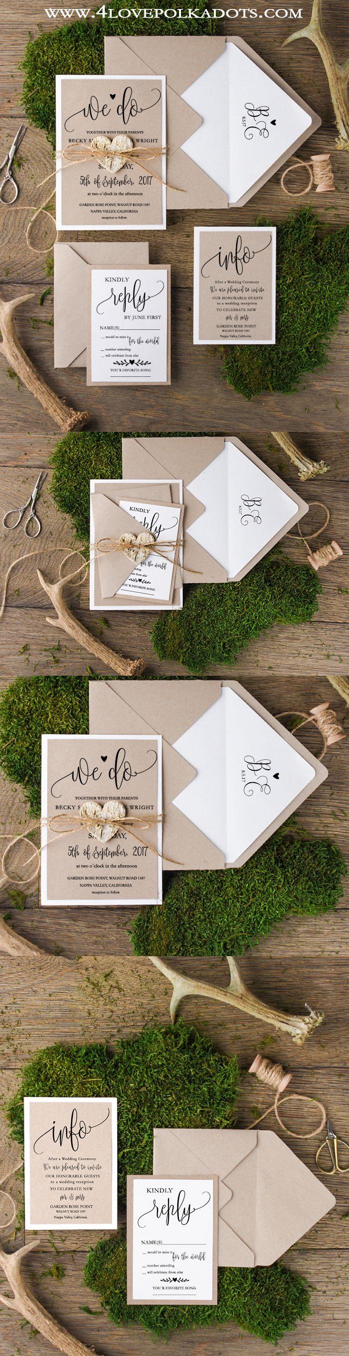 Rustic Wedding Invitaciones para boda estilo rústico/ Rustic Wedding Invitations #weddingideas #ideasparaboda