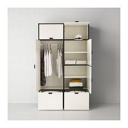 IKEA - ODDA, Wardrobe, , The bottom drawers have castors and therefore easy to move about.Adjustable hinges ensure that the doors hang straight.Self-closing hinges automatically close the door the last part of the way, so the wardrobe is never left open.