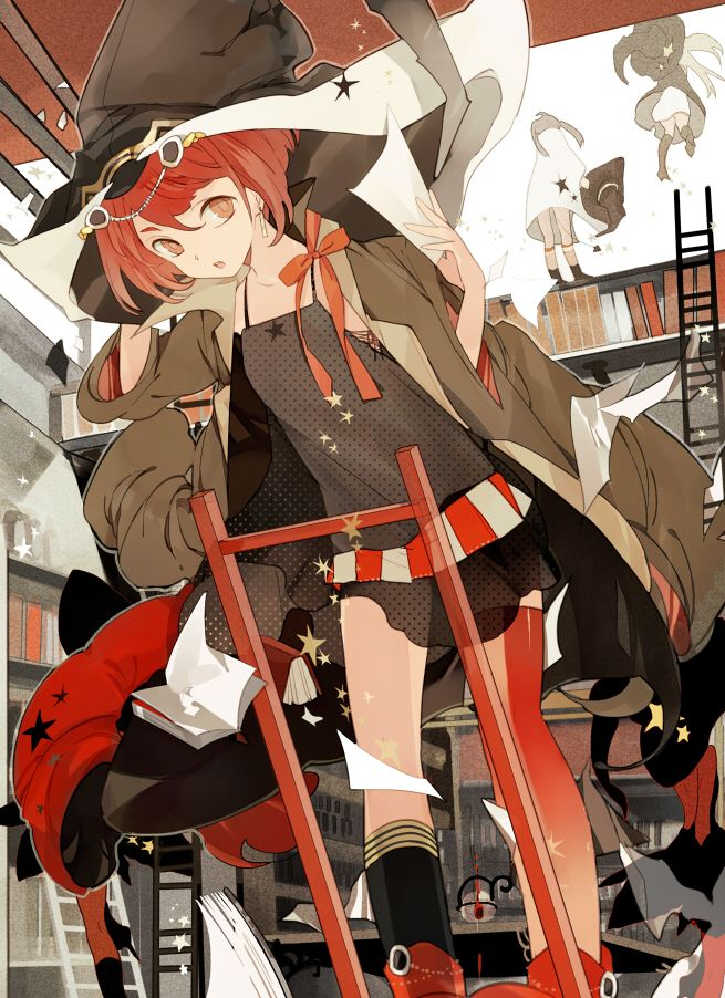 Tags Anime, Witch Hat, Library, Stairs, Suou anime