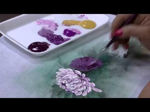 Mulher.com 15/01/2015 Crisântemos com tinta puff por Julia Passerani Parte 2 - YouTube