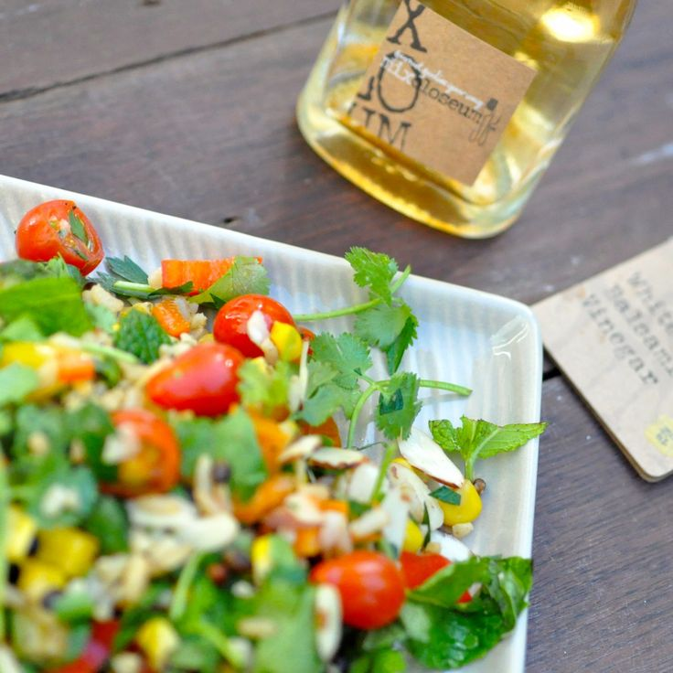 Wild Rice Salad with #MixParty Extra Virgin Olive Oil and Mix Party White Balsamic Vinegar! #WhiteBalsamic #SummerSalad #CherryTomatoes #DirectSelling #SocialSelling