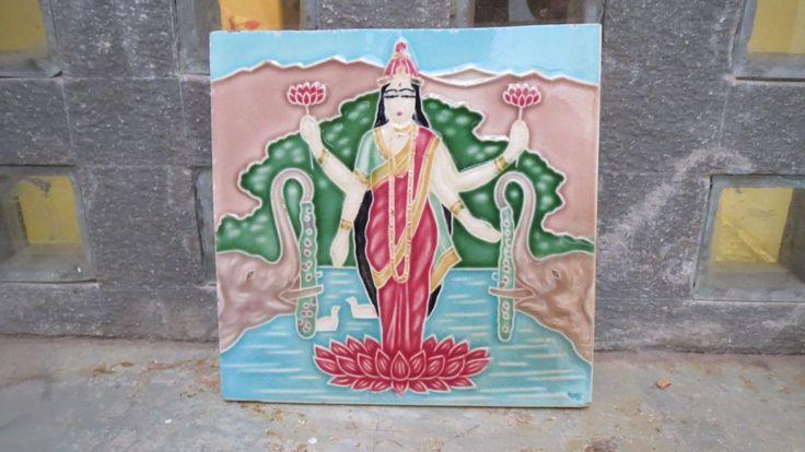 1 Antique 1940's Ceramic Tile depicting Laxmi, the Hindu Goddess of Wealth. Kitchenalia. Bathroom. Decor. Original Genuine Gods Indian Asian by Lallibhai on Etsy