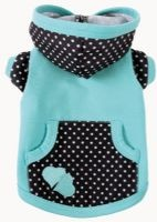 The Ruff Ruff Couture® Ricky Hoodie combines black and white polka dots  with aqua for a whimsical treat.  This darling hoodie features a double  heart appliqué, a working pocket and convenient leash hole. Proudly made  in the U.S.A.