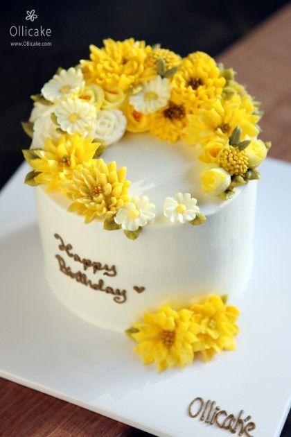 노오란 빛깔이 넘 상큼한플라워케이크 입니다 ^^ 소중한분의 생일을 맞아 준비한 선물인데요~노란소국을 특...