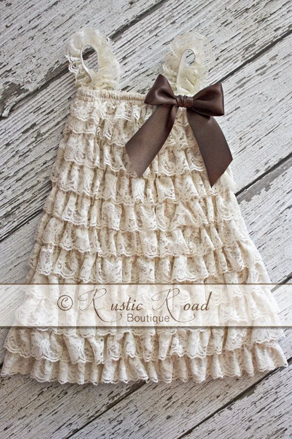 Cream Lace Dress CHOOSE BOW COLORS  Rustic by RusticRoadBoutique, $26.50  LOOOOOOOVE this Flower Girl Dress! Very Rustic!