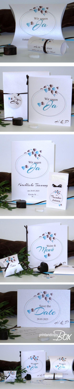 Originelle Hochzeitseinladungen mit dem gewissen Etwas. Die  besonderen Einladungen sind Teil der Hochzeitspapeterie Herzblatt mit einem modernen Design in türkis und braun. Im Onlineshop sind alle Artikel bestellbar. #hochzeit #blätter #türkis #braun #design #herzen #trendy