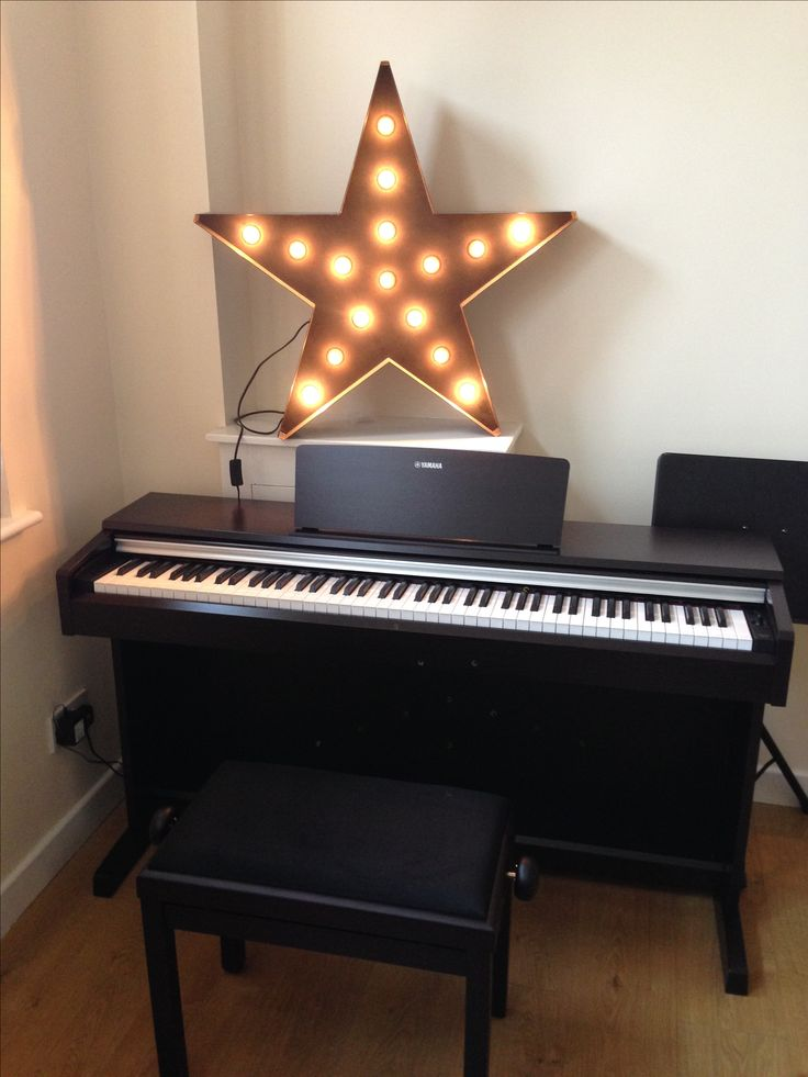 Yamaha electric piano with made.come Broadway floor lamp