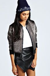 Frankie Metallic Quilted Bomber