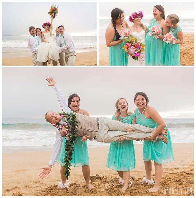 Tropical Teal Beach Wedding with fun bridesmaids and groomsmen!