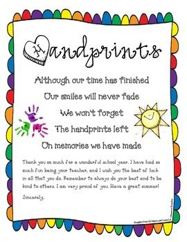 End of Year Kindergarten Poems | End of the Year Poem Goodbye Letter Freebie