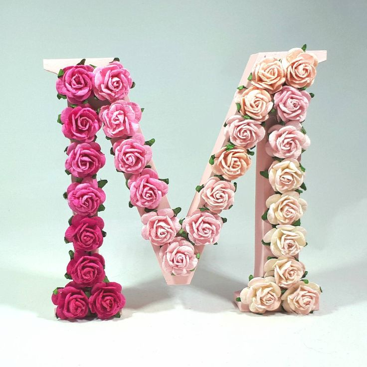 Rose decorated Freestanding Wooden Letter 13cm Tall - Occasion/Nursery/ Kids Bedroom/Keepsake/Gift - L04 by ArtyCraftyMama on Etsy