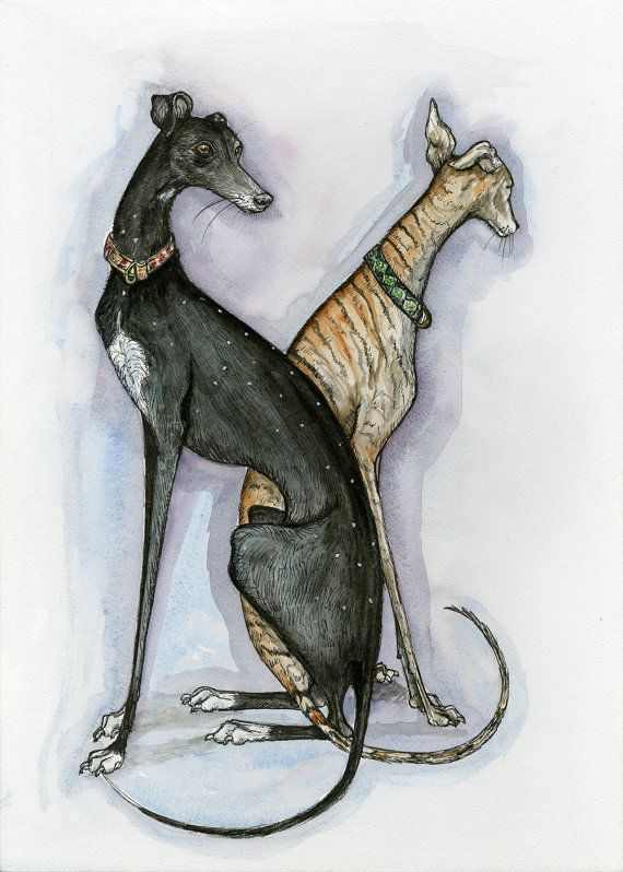 Today and Tomorrow Greyhound Art Dog Print by AlmostAnAngel66