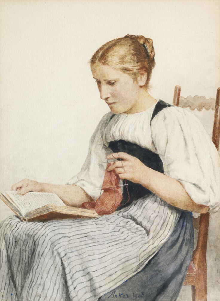 Knitting Girl Reading (1907). Albert Anker (Swiss,1831-1910). Watercolor on paper.