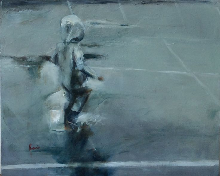Making the best of a rainy day Oil on canvas. 500/600cm