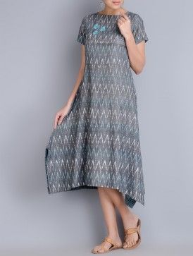 Grey Embroidered Ikat Cotton Dress